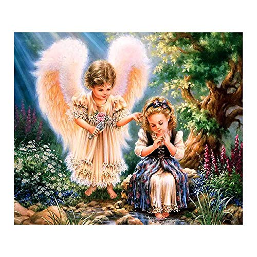 YSNMM Kleine engel diamant schilderij portretwerk rond bos 5D knutselen mozaïek borduurwerk kruissteek decoratie thuis geschenken