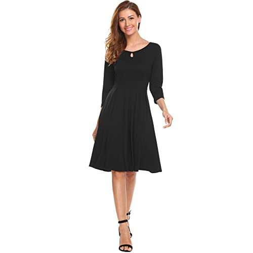 280f8bdd089 Hotouch Women s Short Sleeve A Line Swing Flared Skater Cocktail Party Dress