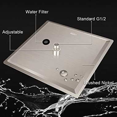 12 Inch Square Rain Showerhead with 11 Inch Adjustable Extension Arm, Large Stainless Steel High Pressure Shower Head,Ultra T