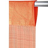 Arsvita Fadenvorhang mit Stangendurchzug, individuell kürzbare Gardine, moderner und eleganter Dekorationsartikel in vielen Farben und Ausführungen (B140xL250 cm/orange - Hellorange)