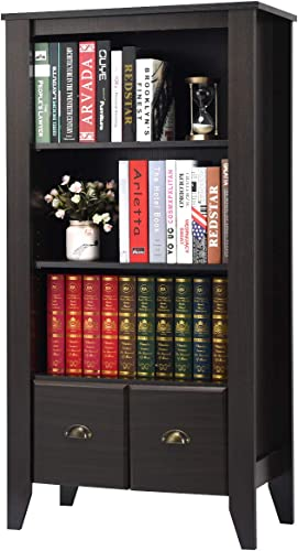"""wholesale Giantex Bookshelf Bookcase Furniture 3 Shelf with 2 Drawers, Large Storage for Home Office online sale Bedroom Multifunctional Cabinet 2 Adjustable Shelves Living high quality Room Media Tower, 29"""" L x14.5 Wx55 H outlet online sale"""