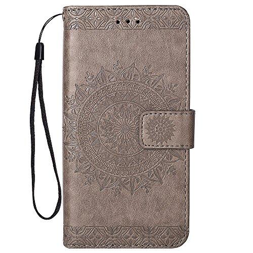 Hancda Hülle für iPhone SE (2020), Handyhülle Flip Case Hülle Schutzhülle Tasche Leder Handytasche Geldbörse Brieftasche Cover Etui Magnet Lederhülle für iPhone SE (2020),Grau