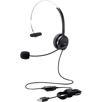 エレコム ヘッドセット USB オーバーヘッド 有線 片耳 30mmドライバ ブラック HS-HP29UBK