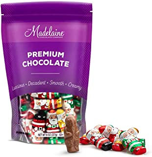 Madelaine Solid Premium Chocolate Mini Santas, (1/2 LB) Wrapped In Italian Foil Featuring Assorted Designs - (Half Pound) (Milk Chocolate)