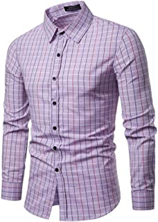 Soft and Close Hot Men's Long-Sleeved Plaid Shirt, Casual Men's Spring Cotton Shirt Buttons wl (Color : Purple, Size : S)