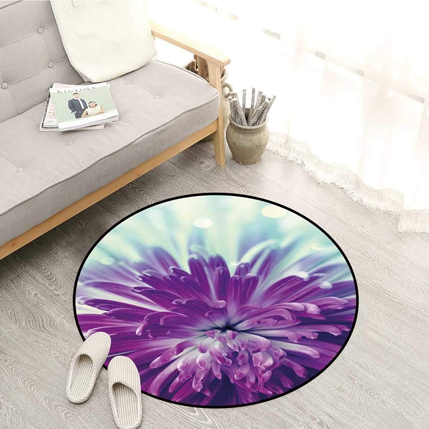 Dahlia Living Room Round Rugs Radiant purple colord Blooming Dahlia Close Up with Petals in Pale Sunshine Sofa Coffee Table Mat 4'11  Purple Mint Green