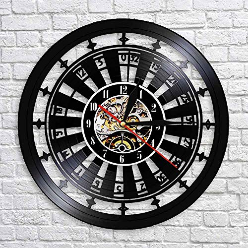 wtnhz LED-Casino Wall Clock Gambling Room Sign Mural Vinyl Record Wall Clock Las Vegas Poker Game Playing Card Roulette Table Watch