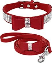 Beirui Bling Soft Leather Dog & Cat Collar & Leash Set - Rhinestone Flocking Sparkly Crystal Diamonds Studded - Cute Double Bowknot - Perfect 4 Foot for Pet Show