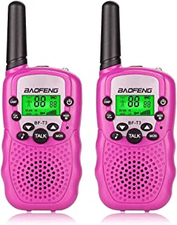 BaoFeng BF-T3 Kids Walkie Talkies Mini 2 Way Radios Long Range Birthday Present Gift Ideas Toys for Age 3-12 Years Old Cool Young Boys Girls Children Toddlers (2 Pack, Pink)
