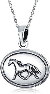 Equestre Medaglione Ovale Di Cavalli Purosangue Collana Pendente Per Donne Per La Teen Ossidato Argento 925