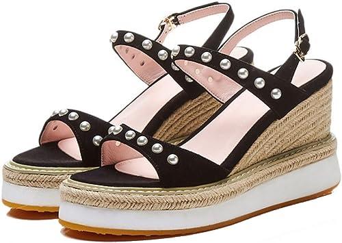 GAOLIXIA Femmes Les Les dames Sandales en Cuir D'été D'été Strass Wedges à Talons Chaussures Muffins avec Talons Hauts Chaussures Décontracté