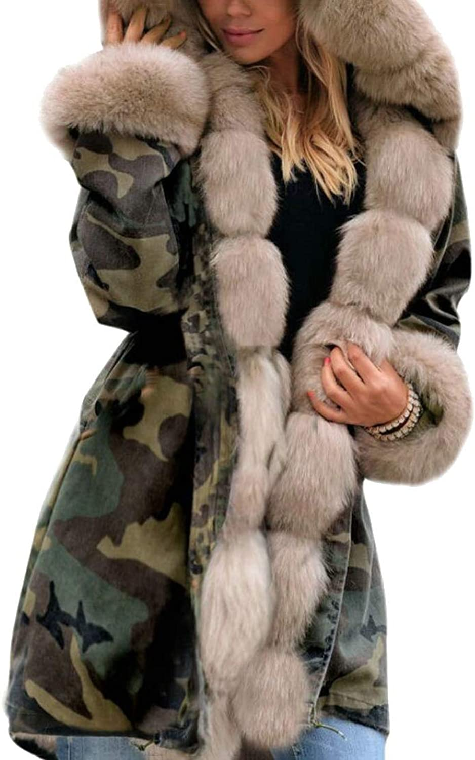 Esast Women Faux Fur Lined Parkas Jacket Military Hooded Warm Winter Coats