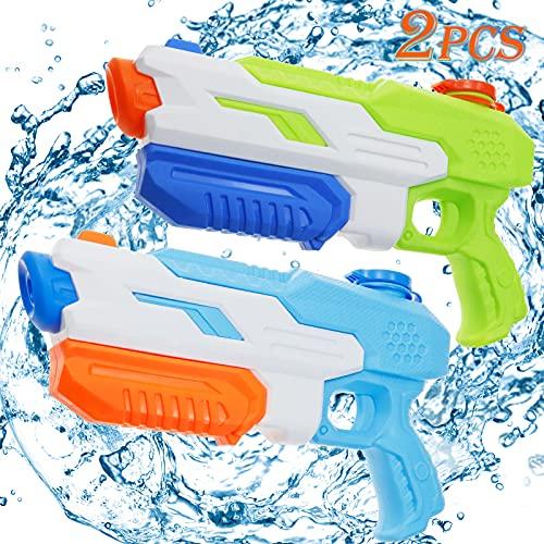 Lunriwis Wasserpistole, 2 Pack Wasserspritzpistole Spielzeug Set für Kinder Erwachsene, 1300ML Wasserpistole groß mit 10 Meter Reichweite für Sommerfest Party im Freien, Strand, Pool Strandspielzeug