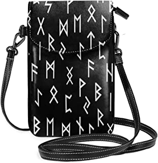 Women Small Cell Phone Purse Crossbody,Black And White Elder Futhark Ancient Symbols And Runic Letters Random Alignment