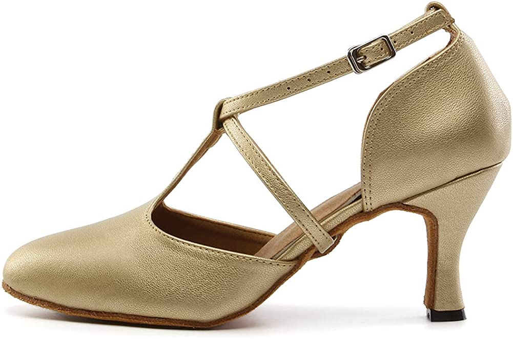 TINRYMX Latin Dance Shoes for Women Closed Toe T-Strap Ballroom Modern Tango Party Performance Dance Shoes,YCL272