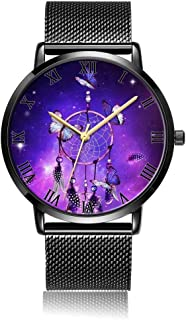 Customized Colorful Arrow Lines Pattern Wrist Watch, Black Steel Watch Band Black Dial Plate Fashionable Wrist Watch for Women or Men