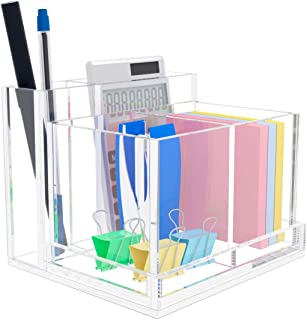 NIUBEE Pencil Holder,Clear Acrylic Desk Pencil Holder and Card Holder Storage Organizer for Home,Office and School