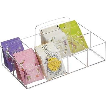 mDesign Caja de té portátil para el Armario o la encimera – Organizador de infusiones con 8 Compartimentos de plástico – Prácticas Cajas para Guardar té, azúcar, edulcorantes y café – Transparente: Amazon.es: Hogar