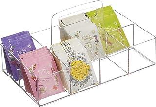 mDesign boîte à thé déplaçable pour la Cuisine ou Le Plan de Travail – Rangement thé à 8 Compartiments en Plastique – boît...