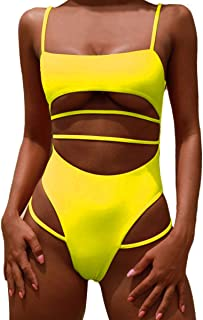 MOPOOGOSS Womens One Piece Swimsuits Push up Strappy High Cut High Waisted Cheeky Bathing Suit Swimwear