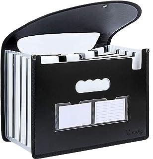 Uquelic Trieur à Soufflets -12 Compartiments en Format A4 Accordéon Classeur Pochettes Porte-Documents (Noir et blanc)