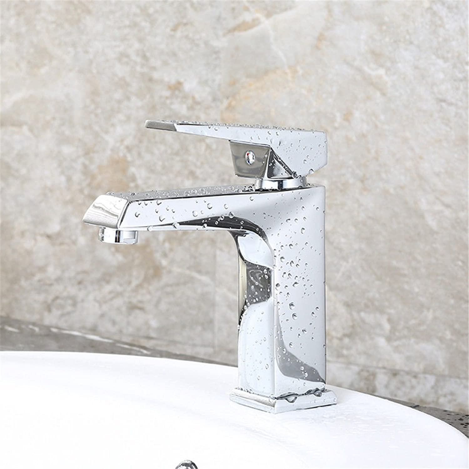 HUAIX home Sink Mixer Tap Bathroom Kitchen Basin Tap Leakproof Save Water Chrome Waterfall Water Outlet Cold Water Ceramic Valve Two Hole Single Handle Bathroom