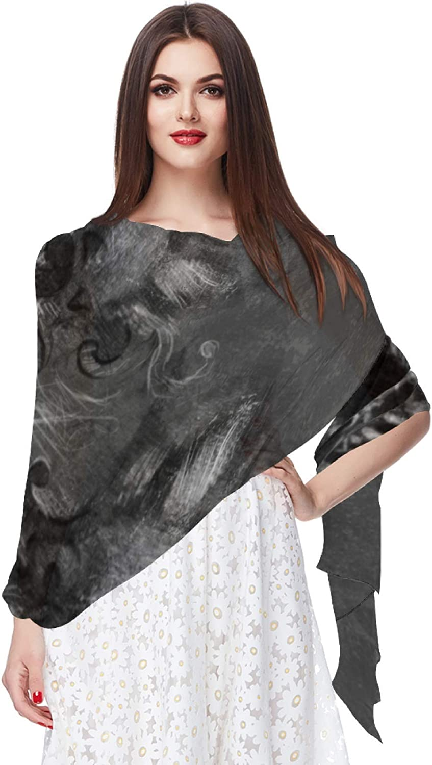 Vintage Wolf With Skull Women Soft Chiffon Pashmina Shawl Wrap Scarf for Bridesmaid Wedding Formal Party Evening Dress