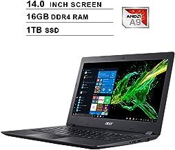 Acer Aspire 3 Newest 14-Inch Premium Laptop, AMD Dual Core A9-9420e up to 2.7GHz, AMD Radeon R5, 16GB DDR4 RAM, 1TB SSD, Webcam, HDMI, WiFi, Bluetooth, Windows 10 Home, Black