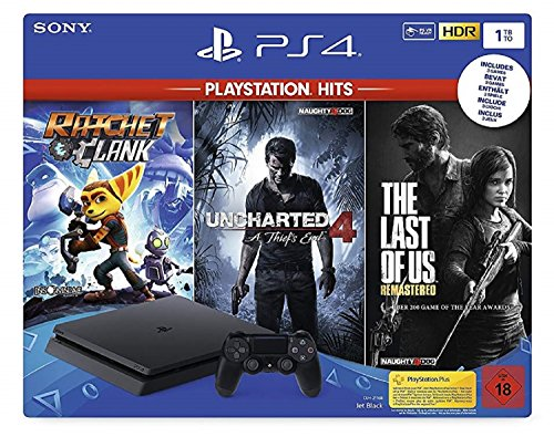 PlayStation 4  Konsole (1TB) inkl. 1 DualShock 4 Controller + PlayStation Hits (The Last of US Remastered + Uncharted 4: A Thief's End + Ratchet & Clank)