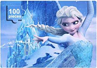 NEILDEN Disney Frozen Puzzles in a Metal Box 100 Piece Jigsaw Puzzle for Kids Ages 4-8 Puzzles for Girls and Boys Great Gifts for Children (Elsa)