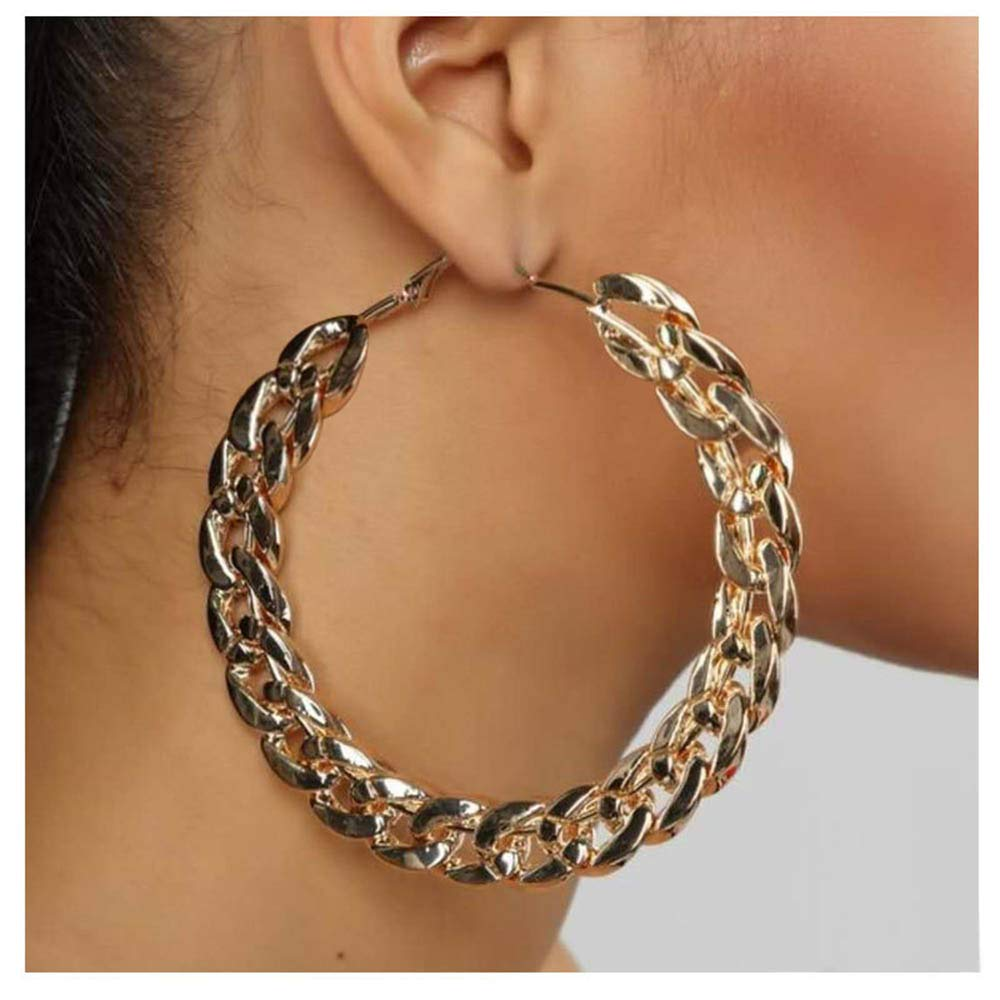 Aimimier Punk Chunky Cuban Chain Hoop Earrings Geometric Large Round Loop Earrings Wedding Prom Party Festival Jewelry for Women and Girls (Gold)