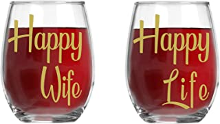 Happy Wife, Happy Life - 15oz Crystal Wine Glasses - Couples Stemless Wine Glasses – His And Hers Gifts Ideas For Anniversary, Weddings, Bridal Showers