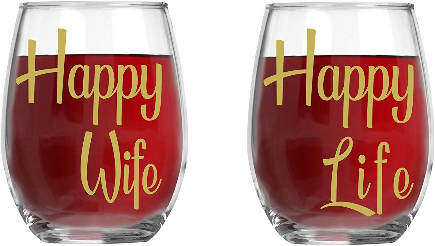 Happy Wife Happy Life 15oz Crystal Wine Glasses Couples Stemless Wine Glasses His And Hers Gifts Ideas For Anniversary Weddings Bridal Showers
