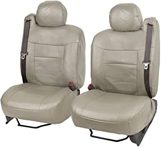 Taupe Beige Vegan Leather Front Pair Seat Covers Luxury Leatherette for Built-in Seatbelt SUV Trucks