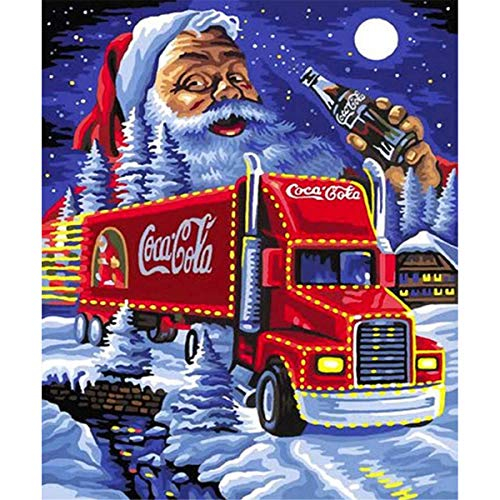 Sunnay 5D Diamant Full Malerei, Weihnachten Kleines Mädchen Schlitten Geschenk Diamond Painting Zeichnung DIY Stickerei Kreuz Stich Diamond Dekoration Stickerei Gemälde (Cola Santa, 30 * 40cm)