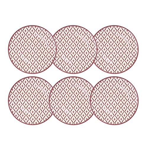 Depot d'Argonne Fleur de Lys 6 piatti piani in ceramica, rosso, 27 x 27 x 2,5 cm