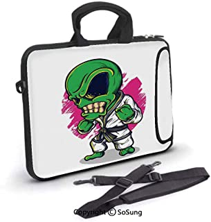 10 inch Laptop Case,Alien Warrior Practicing Chinese Martial Art Karate Sports Children Decor Neoprene Laptop Shoulder Bag Sleeve Case with Handle and Carrying & External Side Pocket,for Netbook/MacBo