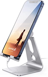 Phone Stand, Lamicall Adjustable Phone Holder Mount Compatible with iPhone 12 11 mini pro max XS XR X 8 7 6 Plus, Galaxy S...