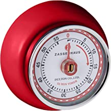 Zassenhaus M072327 Retro Magnetic Kitchen Timer, Red