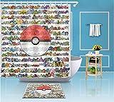 XQWZM Lustige Pokemon go Ball extra Lange Schwarze duschvorhang & badematte Set wasserdicht Polyester Bad Stoff für badewanne Decor @ 200x220 cm