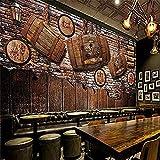 Dekorative Tapete - 3D Wandbild Fotokunst Abstrakte Wandmalerei Stereoskopischer Hintergrund Abnehmbares Wohnzimmer Schlafzimmer Wanddekor Tapete Vintage Nostalgischer RotweinHolzfassBar300X210Cm