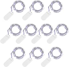 sishang 10 Pack Battery Operated String Lights 7.2ft 20Led Fairy Lights Christmas Lights Silver Coated Copper Wire Lights Firefly Lights for DIY Halloween Decor Wedding Party Mason Jars