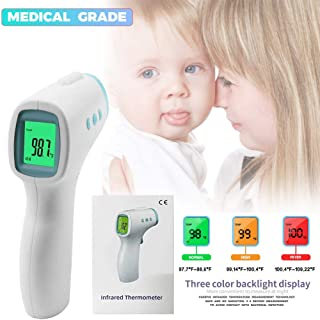 Multifuntional Infrared Thermometer,Baby Forehead Thermometer FDA Fast Accurate Measurement Digital LCD Non-contact Thermometer Color Alarm