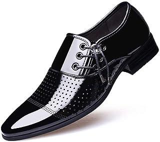 Zapatos casuales Oxfords de los hombres zapatos de vestir lateral con cordones de la patente de boda de negocios top del p...
