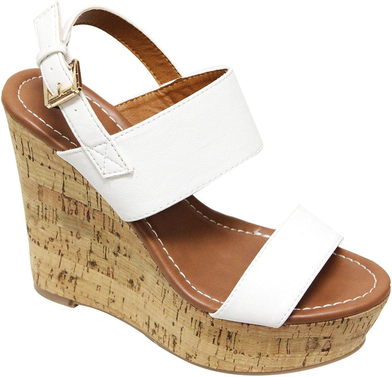 X2B Bunty 2 Women's Double Strap Platform Wedge Sandal