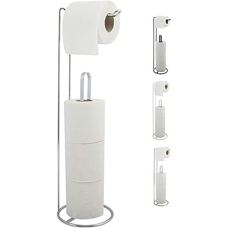 """MSV Porte-rouleau WC Porte papier toilette sur pied Dérouleur Réchange papier MSV """"Amy"""" LxPxH: 15x15x54cm Argent brillant"""