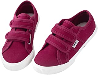 Hopscotch Boys and Girls Cloth Double Strap Sneaker - Burgundy
