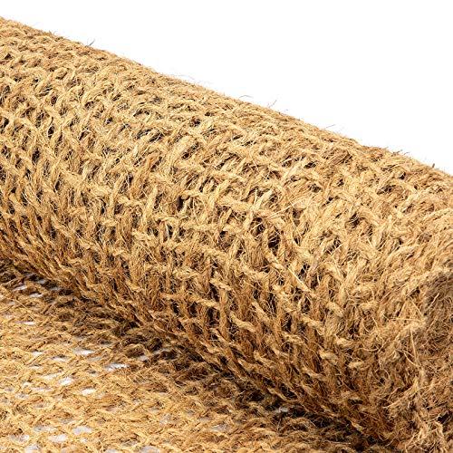 Böschungsmatte Kokos NATURE - Netz als Hangbefestigung oder Ufermatte - Naturfaser Matte für Garten und Großprojekte - Qualität 700 g/m² - Größe 1x20 m