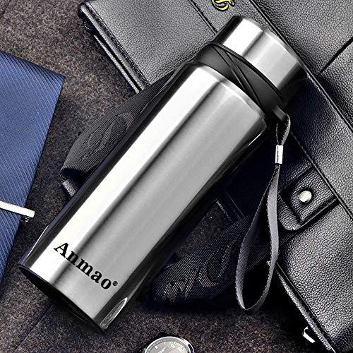 WENSISTAR Vakuum-Isolierte Thermoflasche,Edelstahl-Isolierflasche, Doppelschleudertasse für den Außenbereich, großer Wasserkocher fürs Auto @ Silver_610ML,Edelstahl-Thermosflasche