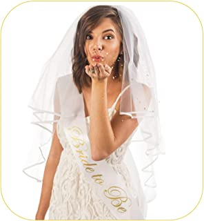 Bride to be Sash, Bachelorette Veil & Confetti - Ideal Set of 3 Party Favors- Fun Bachelorette Party Decorations & Beautiful Bridal Shower Gift for Bride